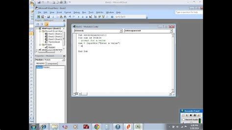 Excel VBA example 26: sub procedure to calculate square