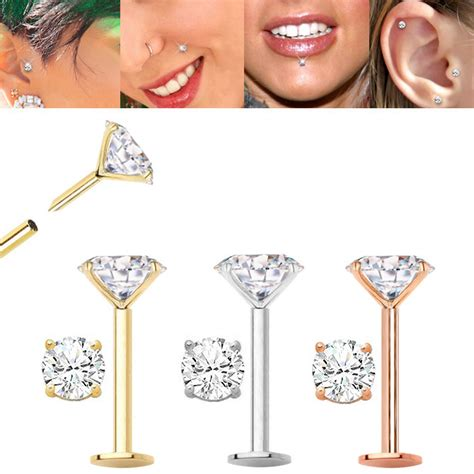 14K Gold Flat Back Push-In Stud for Cartilage, Helix