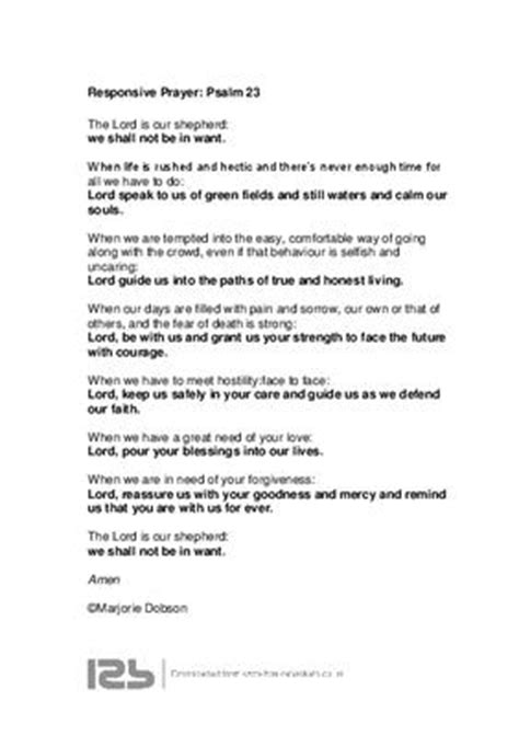 Responsive prayer based on Psalm 23; Contributed by