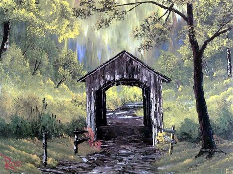 Oil Paintings of 3 covered bridge Bob Ross Art for sale by