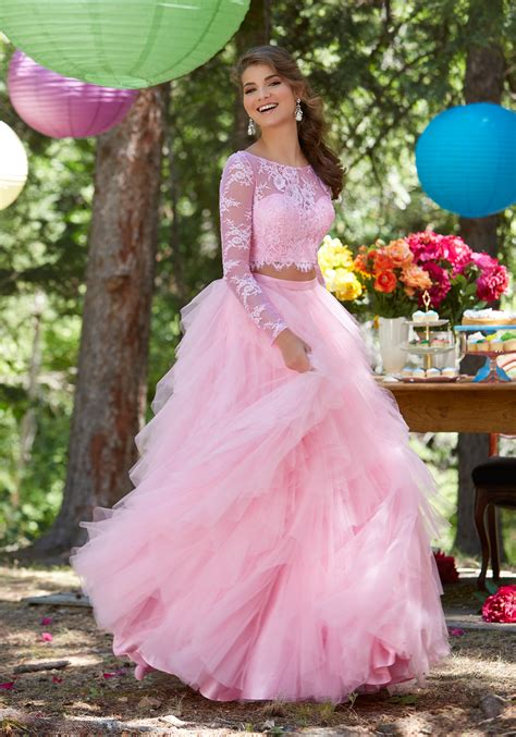 Two-Piece Prom Dress with Chantilly Lace Top | Style 99124