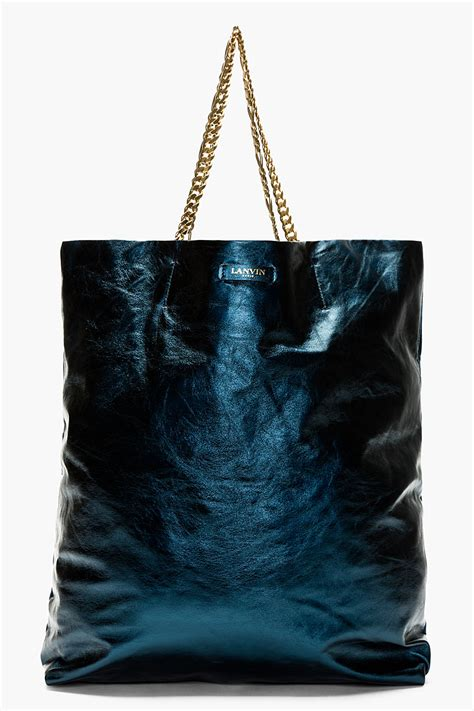 Lyst - Lanvin Metallic Blue Leather Cracked Runway Tote